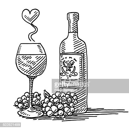 Red wine glass bottle grapes love drawing vector art for How to draw on wine glasses