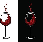 Red Wine Glass Vector Illustration. Wine Splash
