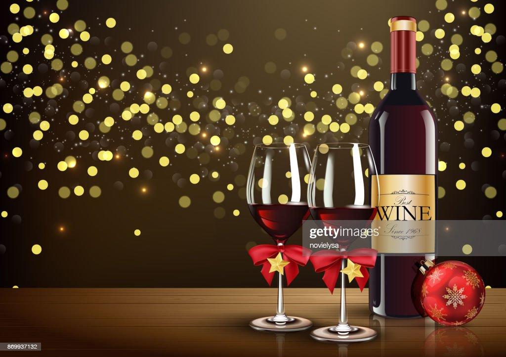 Lichte Rode Wijn : Rode wijnglas met wijn fles en kerst bal op lichte bokeh