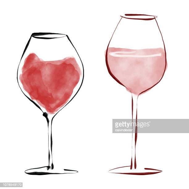 red wine glasses - red wine stock illustrations, clip art, cartoons, & icons