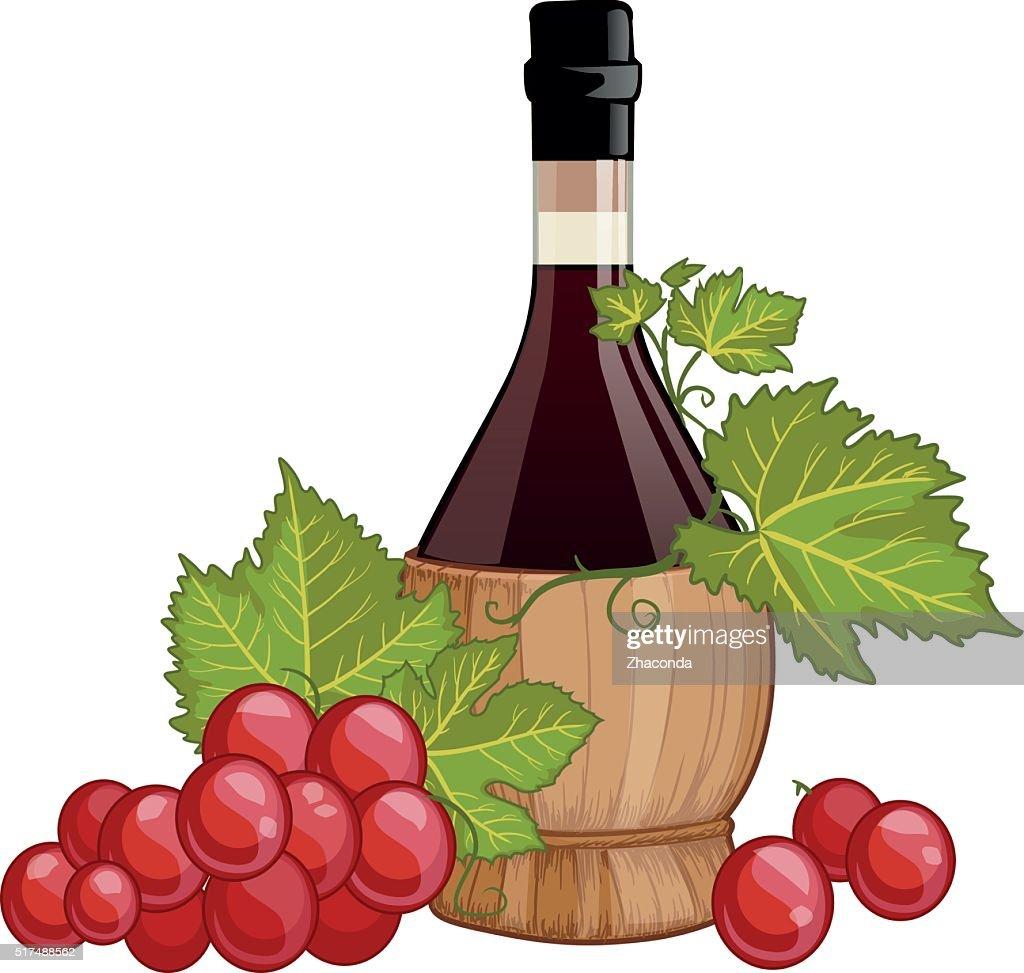 Red wine in italian fiasco bottle