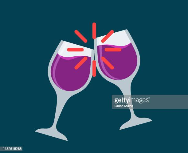 red wine in long wine glasses toasting - vector - red wine stock illustrations, clip art, cartoons, & icons