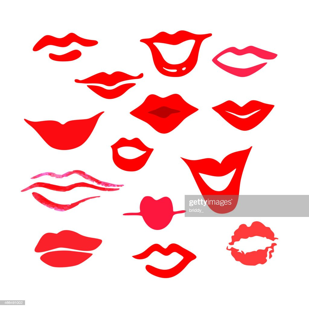 Red woman's lips set.