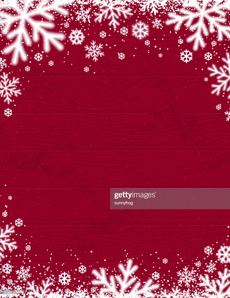 Red Wooden christmas background with blurred white snowflakes, vector illustration
