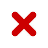 Red X mark icon. Cross symbol.