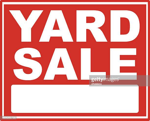 red yard sale sign with white font - garage sale stock illustrations