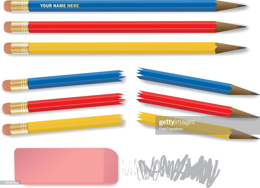 Red, yellow, and blue pencils snapped in half