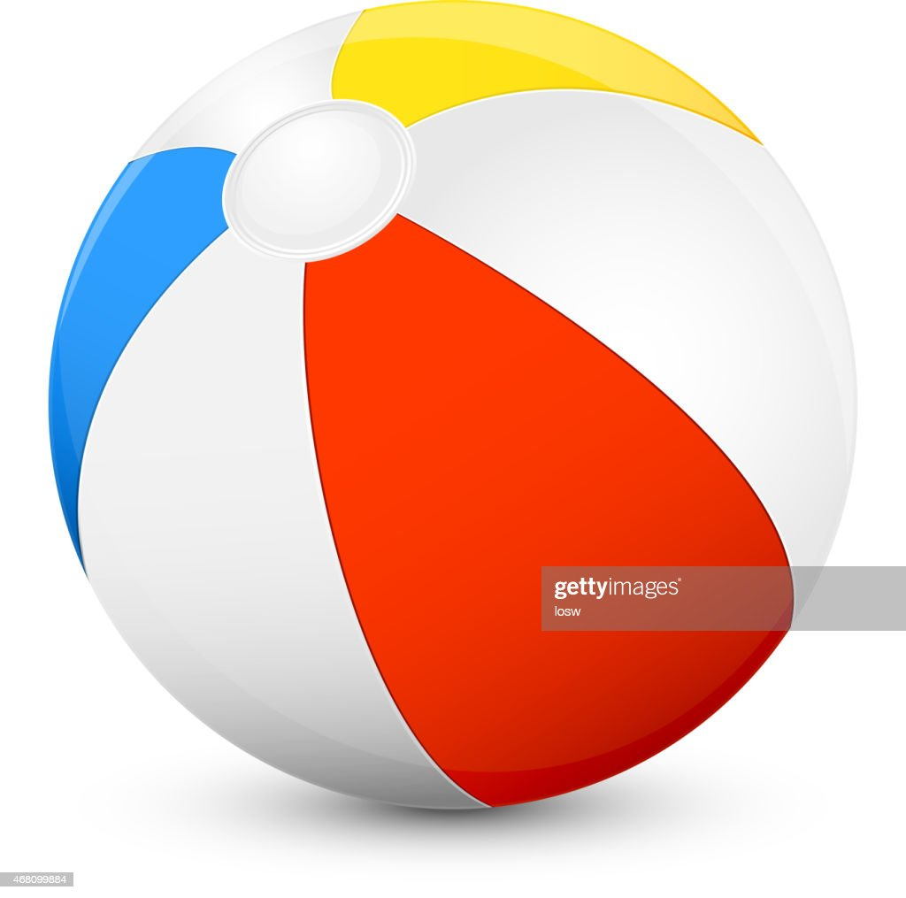 Red, yellow, blue and white beach ball on a white background