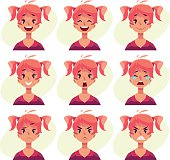Red-haired girl with ponytails face expression avatars