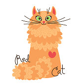 Red-headed cat. Character of a red kitten in cartoon style. Vector illustration