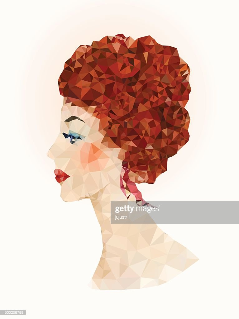 Redheaded women portrait in low-poly style