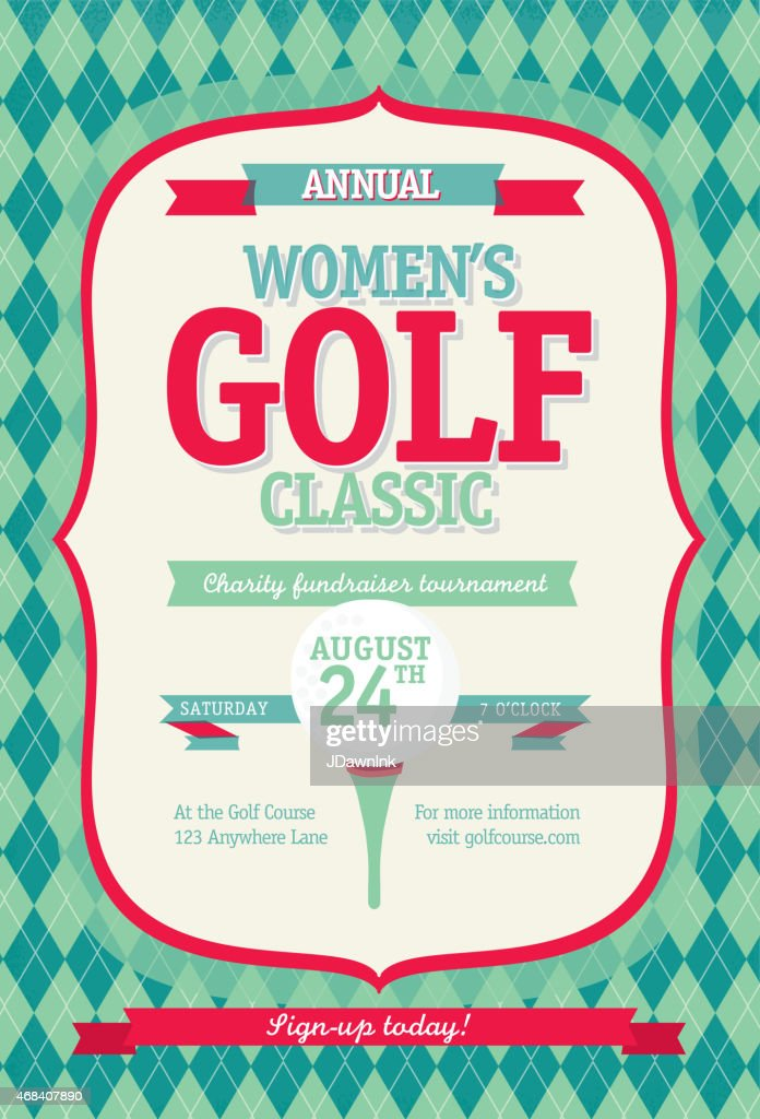 Redl Women's Golf tournament invitation design template on argyle background