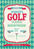 Redl Women's Golf tournament invitation design template on argyle background