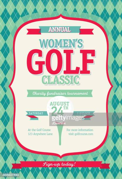 redl women's golf tournament invitation design template on argyle background - golf tournament stock illustrations, clip art, cartoons, & icons