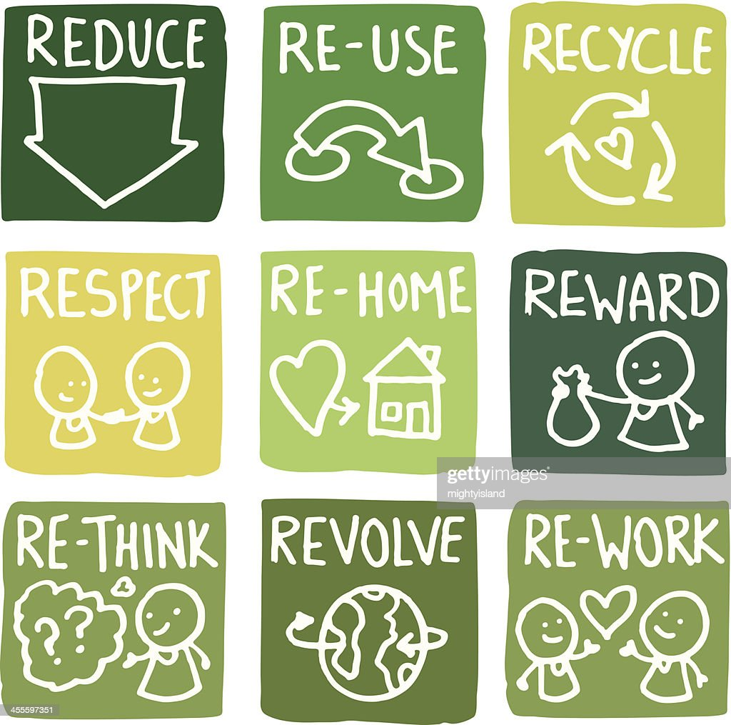 Reduce, reuse and recycle block icon set