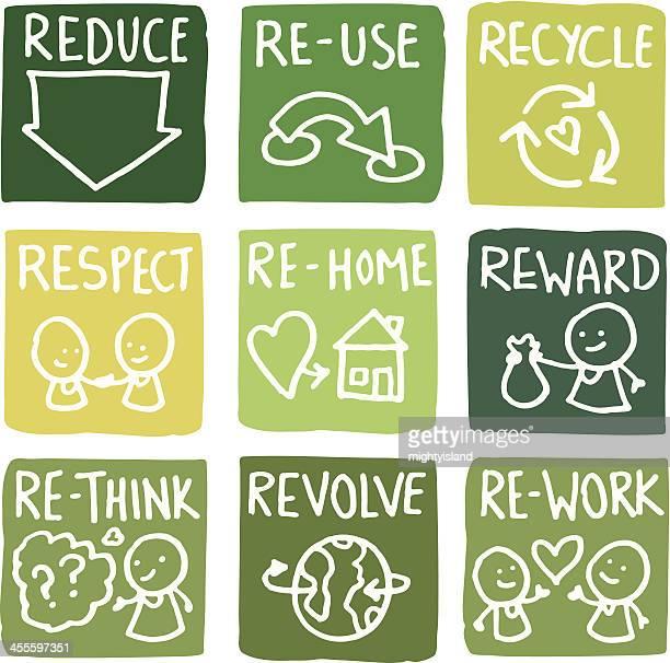 ilustrações de stock, clip art, desenhos animados e ícones de redução, a reutilização e reciclagem ícone conjunto de bloco - símbolo de reciclagem