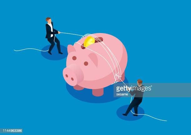 reduced expenses, two businessmen tighten the piggy bank with a rope - downsizing unemployment stock illustrations