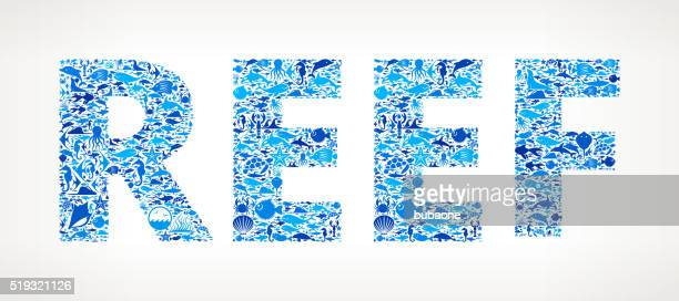 reef ocean and marine life blue icon pattern - cnidarian stock illustrations