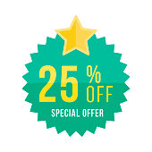 reen sticker and star with 25 off discount. Template of the emblem with special offer flat vector eps 10
