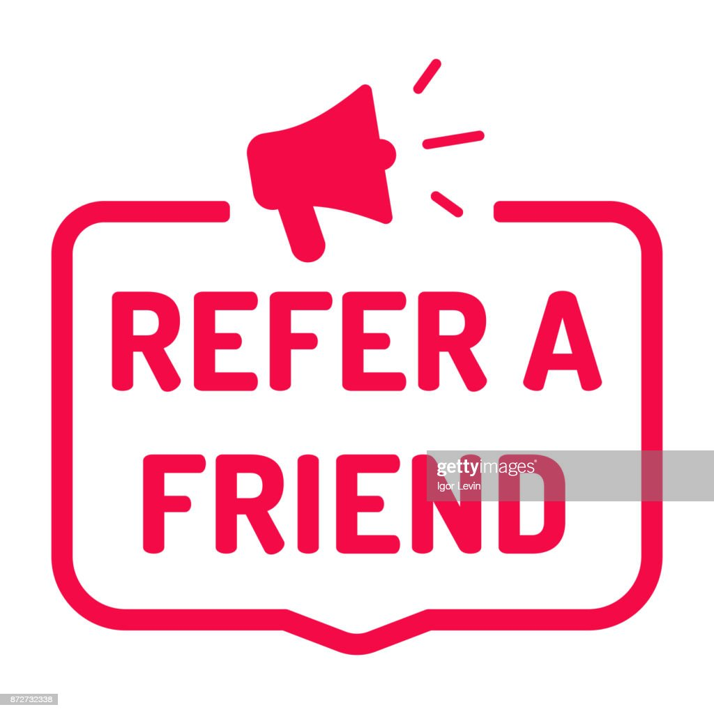 Refer a friend. Badge with megaphone icon. Flat vector illustration on white background.