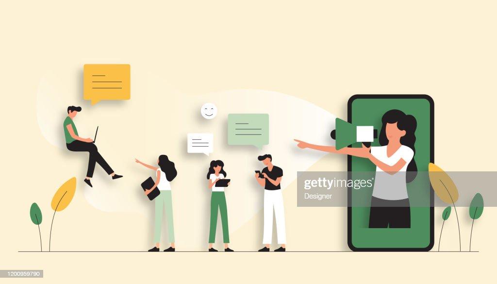 Fare riferimento a un'illustrazione vettoriale del concetto di amico. Design moderno piatto per pagina Web, banner, presentazione ecc. : Illustrazione stock