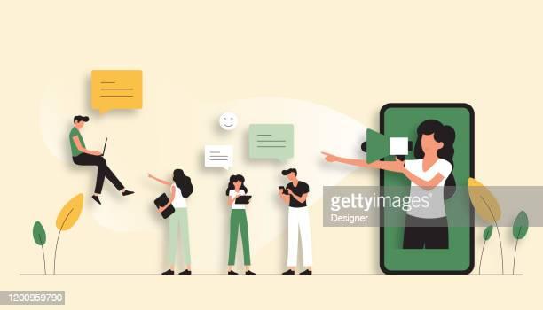refer a friend concept vector illustration. flat modern design for web page, banner, presentation etc. - 線 stock illustrations