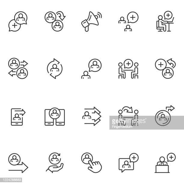 refer a friend icon set - referendum stock illustrations