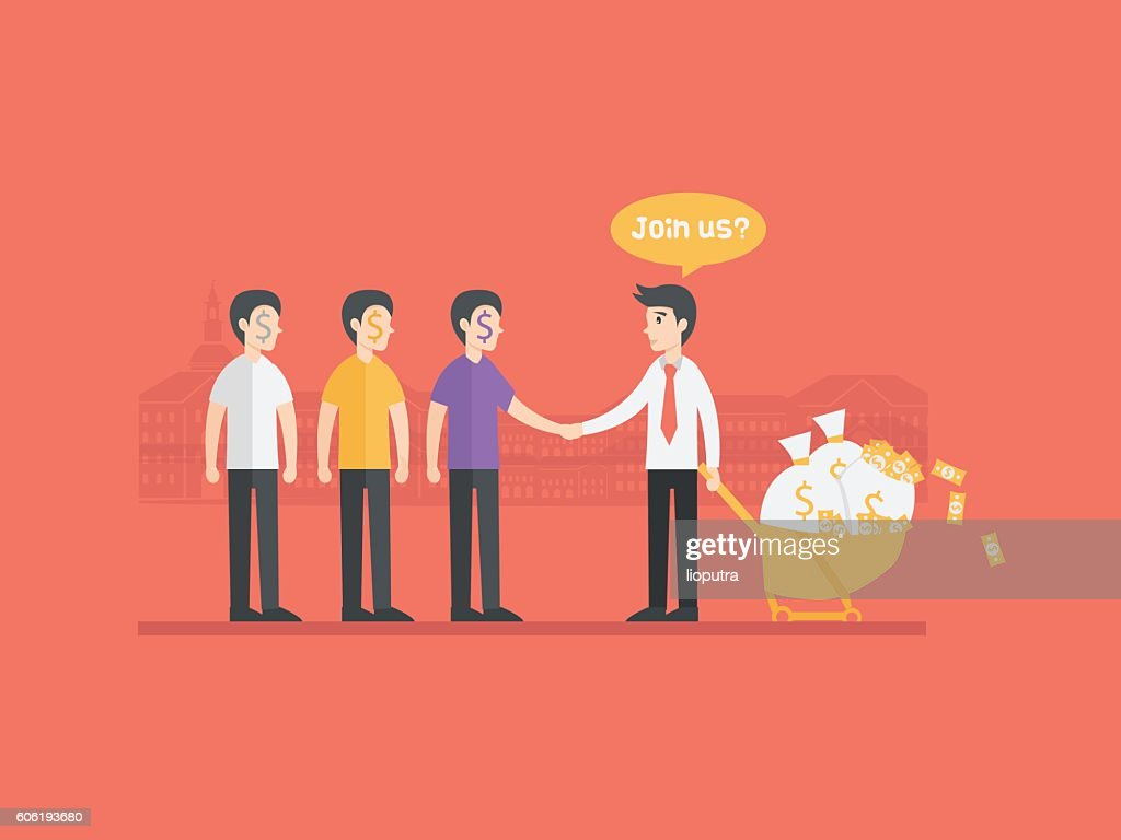 refer a friend referral cartoon concept illustration. Business man character