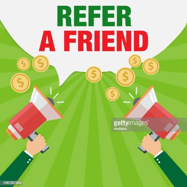 refer a friend - friendship stock illustrations