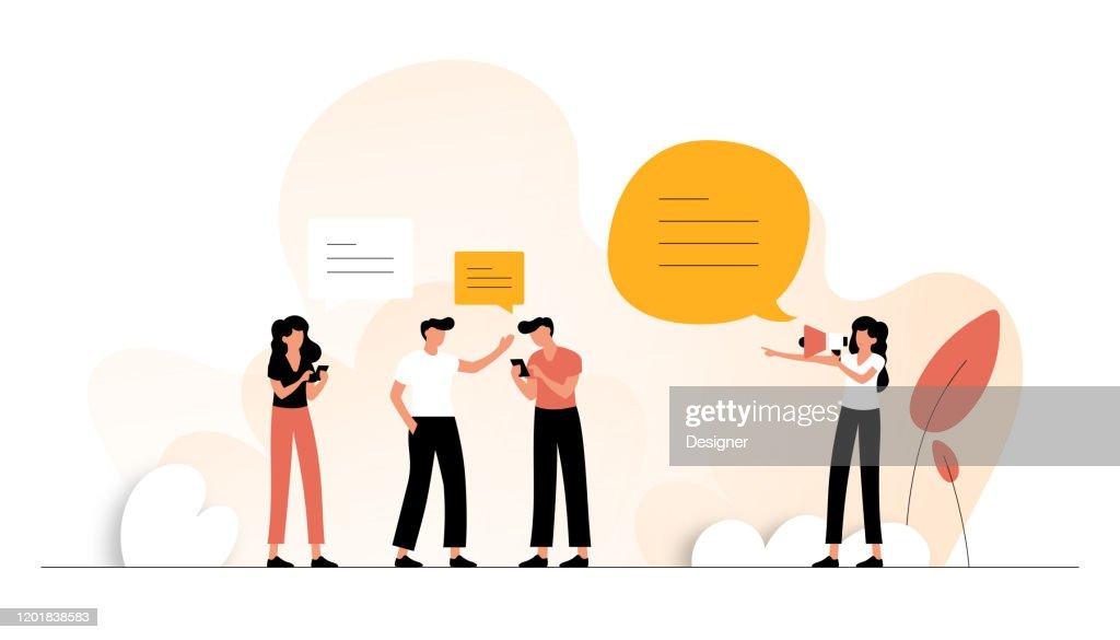Fare riferimento a Friend Concept Vector Illustration. Design moderno piatto per pagina Web, banner, presentazione ecc. : Illustrazione stock