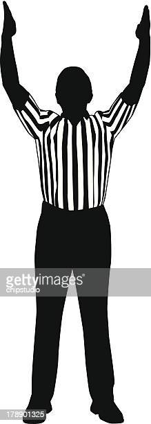 referee goal - touchdown stock illustrations