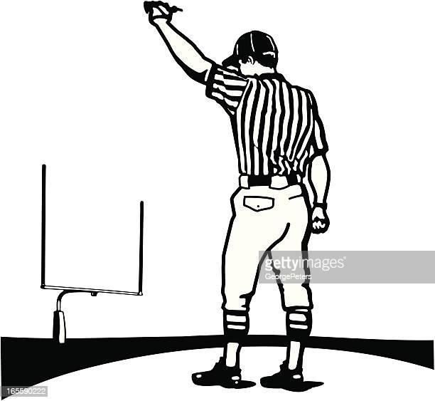 referee making a call - american football judge stock illustrations