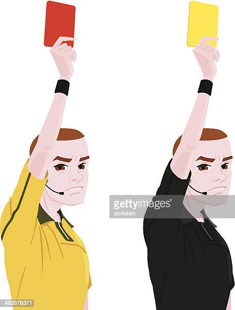 Referee with red and yellow cards