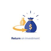Refinancing concept, financial consolidation, revenue increase, return on long term investment