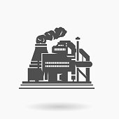 Refinery Factory Building Icon Vector Illustration Silhouette.