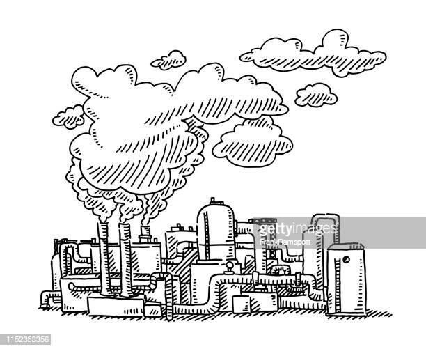 raffinerie smoke stack verschmutzungszieher - frankramspott stock-grafiken, -clipart, -cartoons und -symbole