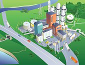 Refinery from the bird's eye view. Vector