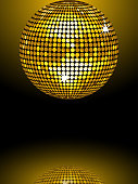 Reflected gold disco ball