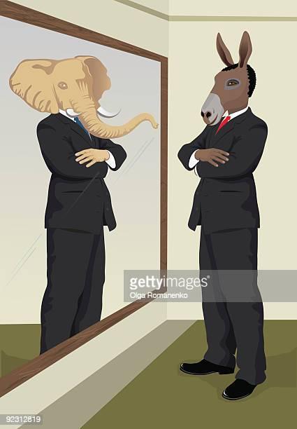 ilustraciones, imágenes clip art, dibujos animados e iconos de stock de reflejo en el espejo - donkey