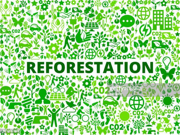 Reforestation Environmental Conservation Vector Icon Pattern