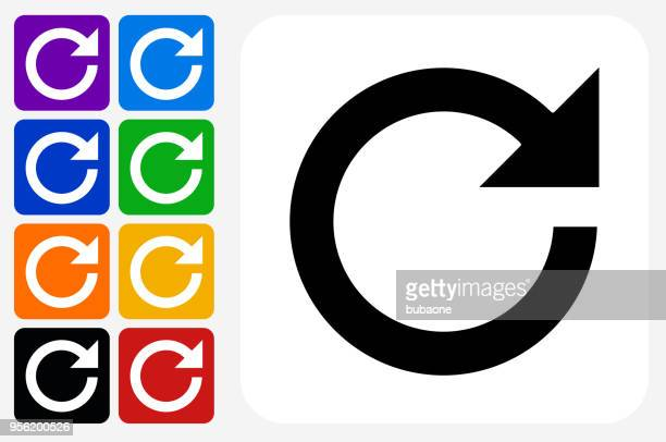 refresh pfeil symbol square buttonset - erfrischung stock-grafiken, -clipart, -cartoons und -symbole