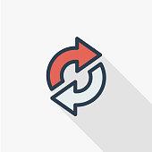 Refresh Arrows, sync, exchange thin line flat color icon. Linear vector symbol. Colorful long shadow design.