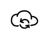 refresh cloud icon hand drawn design illustration