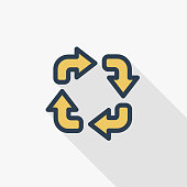 Refresh four arrows thin line flat color icon. Linear vector symbol. Colorful long shadow design.