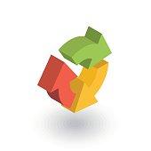 Refresh three arrow rotate isometric flat icon. 3d vector