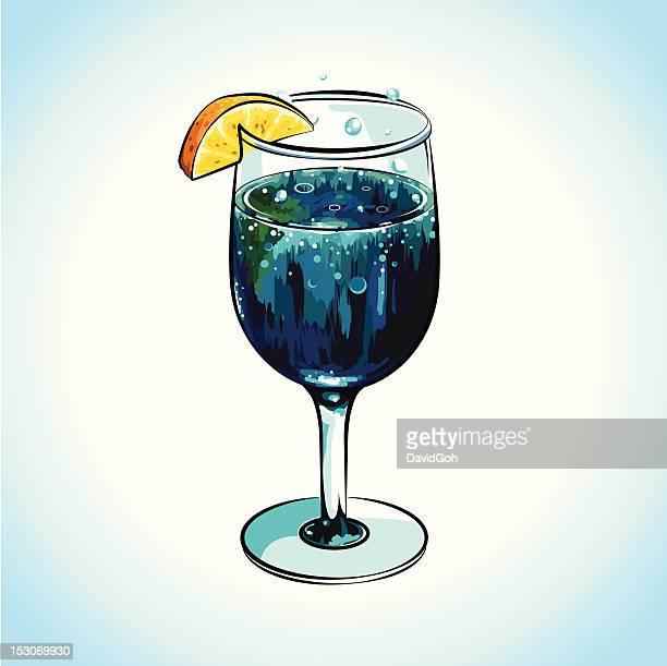 refreshing blue cocktail with lemon - vodka stock illustrations, clip art, cartoons, & icons