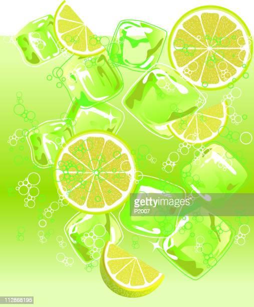 Lima refrescante bebida en hielo