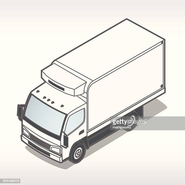 refrigeration truck illustration - refrigerator truck stock illustrations