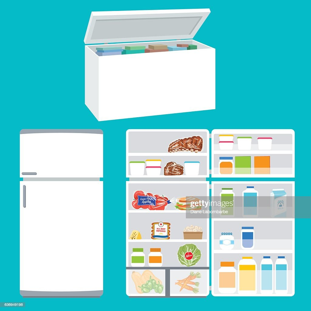 Refrigerator And Freezer Filled With Foods : stock illustration