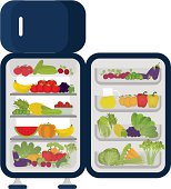 Refrigerator full of vegetables and fruits